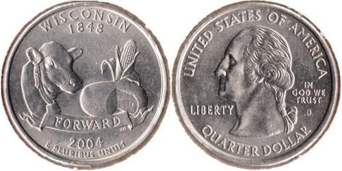 25 центов 2004 D США — Висконсин UNC