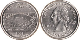 25 центов 2005 P США — Западная Вирджиния (Виргиния) — West Virginia