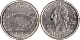 25 центов 2005 D США — Западная Вирджиния (Виргиния)