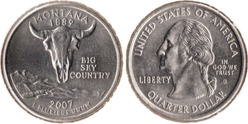 25 центов 2007 D США — Монтана UNC
