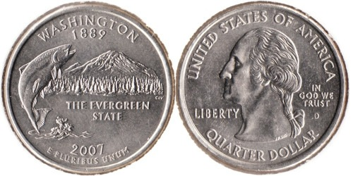 25 центов 2007 D США — Вашингтон UNC