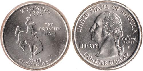 25 центов 2007 P США — Вайоминг UNC