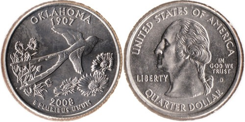 25 центов 2008 D США — Оклахома UNC