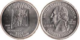25 центов 2008 D США — Нью-Мексико