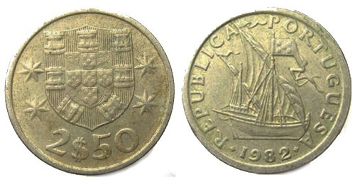 2.5 эскудо 1982 Португалия