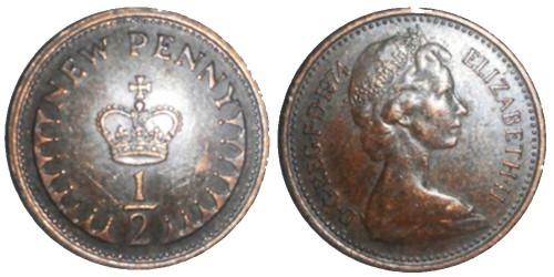 1/2 пенни 1974 Великобритания