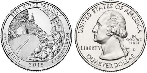 25 центов 2015 D США — Автомагистраль Блу-Ридж (Северная Каролина) UNC