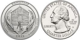 25 центов 2015 D США — Национальный монумент Гомстед (Небраска)