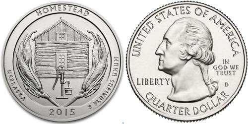 25 центов 2015 D США — Национальный монумент Гомстед Небраска — Homestead National Monument UNC