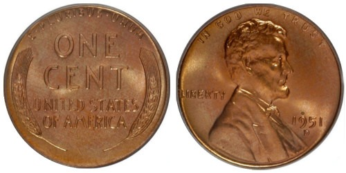 1 цент 1951 США D