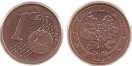1 евроцент 2002 «D» Германия