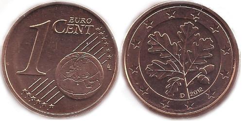 1 евроцент 2012 «D» Германия