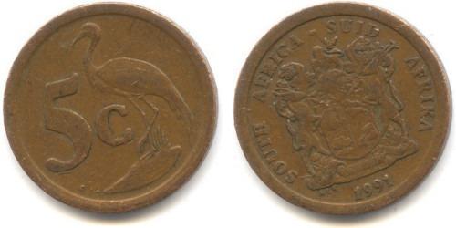 5 центов 1991 ЮАР