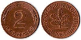2 пфеннига 1983 «D» ФРГ