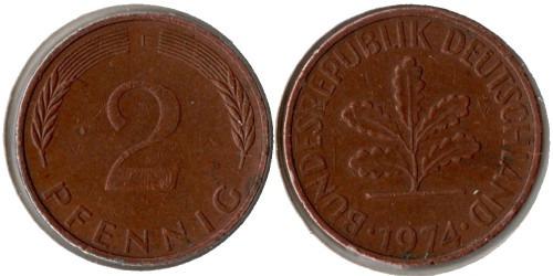 2 пфеннига 1974 «F» ФРГ
