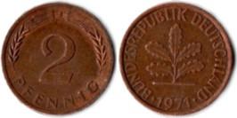2 пфеннига 1971 «J» ФРГ