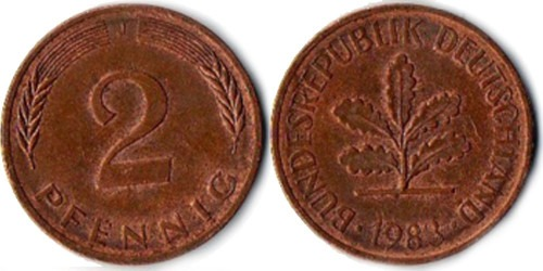 2 пфеннига 1983 «J» ФРГ