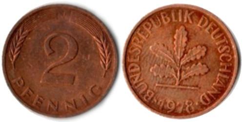 2 пфеннига 1978 «J» ФРГ