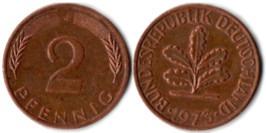 2 пфеннига 1973 «J» ФРГ