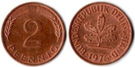 2 пфеннига 1976 «G» ФРГ