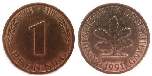 1 пфенниг 1991 «D» ФРГ