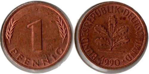 1 пфенниг 1990 «D» ФРГ