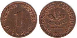 1 пфенниг 1981 «D» ФРГ