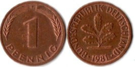 1 пфенниг 1981 «F» ФРГ