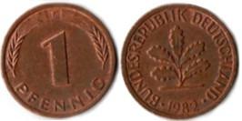 1 пфенниг 1982 «F» ФРГ