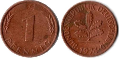 1 пфенниг 1974 «F» ФРГ