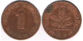 1 пфенниг 1981 «J» ФРГ