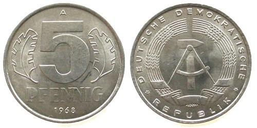 5 пфеннигов 1968 «A» ГДР