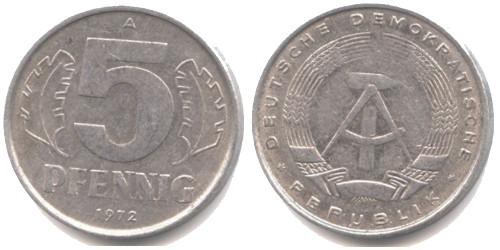 5 пфеннигов 1972 «A» ГДР