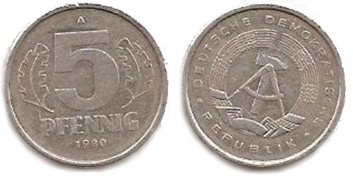 5 пфеннигов 1980 «A» ГДР