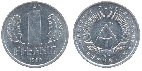 1 пфенниг 1980 «A» ГДР