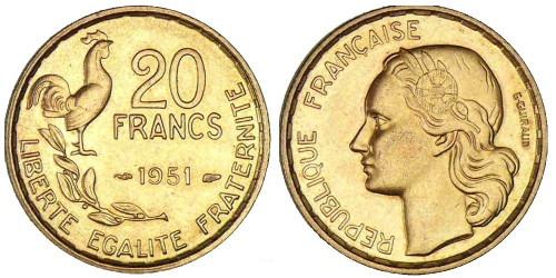 20 франков 1951 Франция