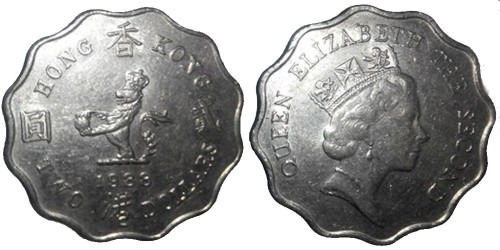 2 доллара 1988 Гонконг