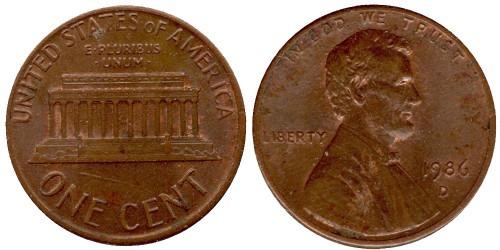 1 цент 1986 D США