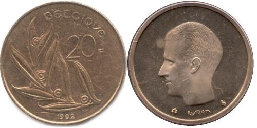 20 франков 1992 Бельгия (FR)