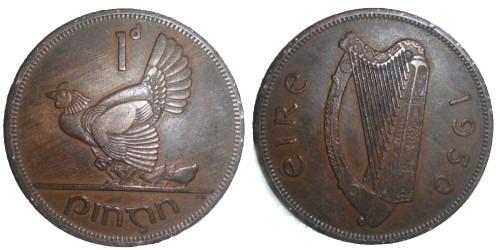 1 пенни 1950 Ирландия