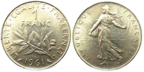 1 франк 1961 Франция