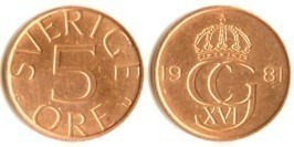 5 эре 1981 Швеция