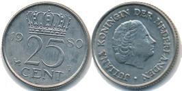 25 центов 1980 Нидерланды