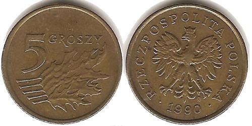 5 грошей 1990 Польша