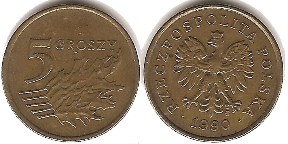 Монета 5 groszy 2005 года с описанием тираж 175