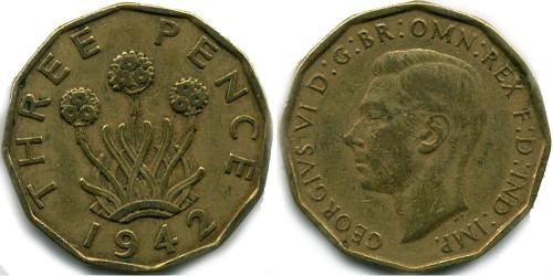 3 пенса 1942 Великобритания