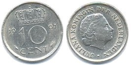 10 центов 1961 Нидерланды