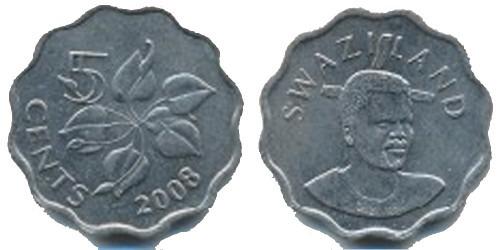 5 центов 2008 Свазиленд UNC