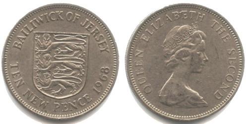 10 пенсов 1968 остров Джерси