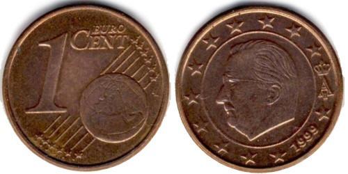 1 евроцент 1999 Бельгия UNC
